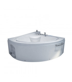 Baignoire balneo d'angle 165x148 Pur Acrylique Blanc