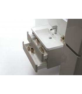 Meuble de Salle de bain HELLIA Taupe laqué 90cm